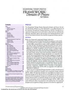 Domain & Process. 3rd Edition PREFACE OCCUPATIONAL THERAPY PRACTICE FRAMEWORK: Contents