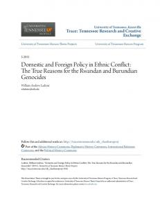 Domestic and Foreign Policy in Ethnic Conflict: The True Reasons for the Rwandan and Burundian Genocides