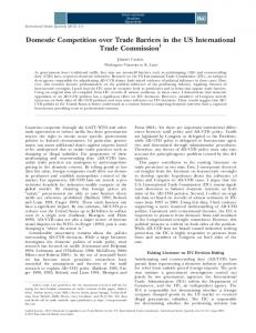 Domestic Competition over Trade Barriers in the US International Trade Commission 1