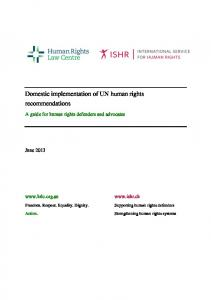 Domestic implementation of UN human rights recommendations