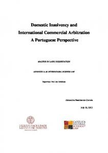 Domestic Insolvency and International Commercial Arbitration A Portuguese Perspective