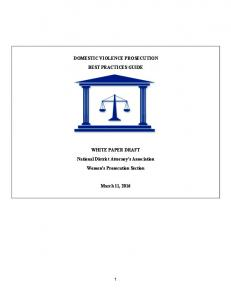 DOMESTIC VIOLENCE PROSECUTION BEST PRACTICES GUIDE