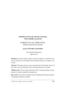 DOMINGO VILLAR: CRIME NOVEL WITH GALICIAN FLAVOUR