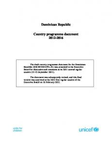Dominican Republic. Country programme document