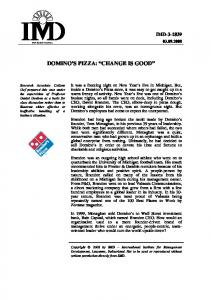 DOMINO S PIZZA: CHANGE IS GOOD