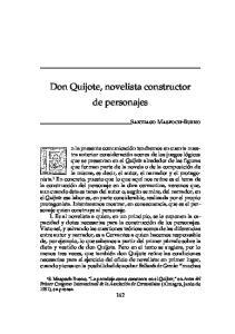 Don Quijote, novelista constructor de personajes