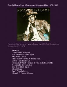 Don Williams Live Albums and Greatest Hits