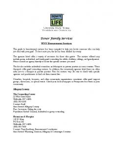 Donor Family Services. WNY Bereavement Services