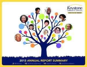Donors Financial Summary 14 Keystone Services Service Statistics