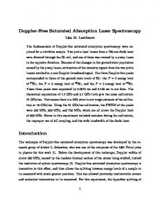 Doppler-Free Saturated Absorption Laser Spectroscopy
