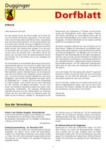 Dorfblatt. Aus der Verwaltung. Editorial