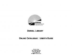 DORVAL LIBRARY ONLINE CATALOGUE : USER S GUIDE