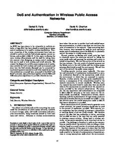 DoS and Authentication in Wireless Public Access Networks