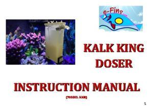 DOSER INSTRUCTION MANUAL (MODEL KK8)