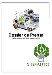 Dossier de Prensa (Del 9 de Septiembre de 2014 al 16 de Octubre de 2014)