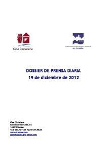 DOSSIER DE PRENSA DIARIA 19 de diciembre de 2012
