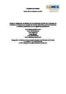 DOSSIER DE PRENSA. lunes, 03 de noviembre de 2014