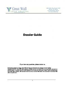 Dossier Guide. If you have any questions, please contact us
