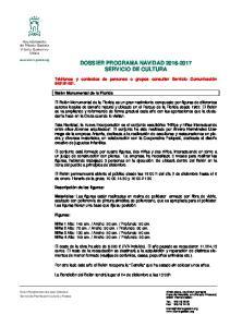 DOSSIER PROGRAMA NAVIDAD SERVICIO DE CULTURA