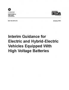 DOT HS January Interim Guidance for Electric and Hybrid-Electric Vehicles Equipped With High Voltage Batteries
