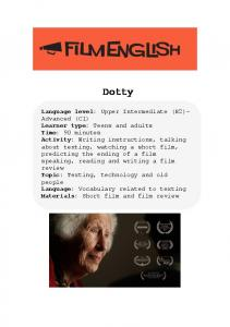 Dotty Language level Learner type Time Activity Topic Language Materials