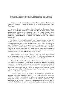 DOUTORAMENTO NO DEPARTAMENTO DE LETRAS
