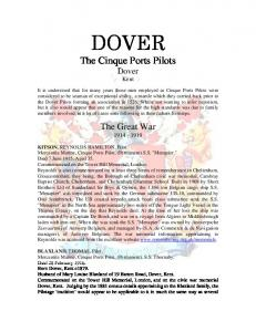 DOVER. The Cinque Ports Pilots Dover Kent