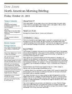Dow Jones North American Morning Briefing