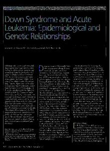 Down Syndrome and Acute Leukemia: Epidemiological and Genetic Relationships