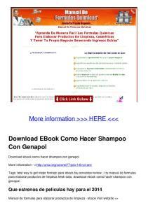 Download EBook Como Hacer Shampoo Con Genapol
