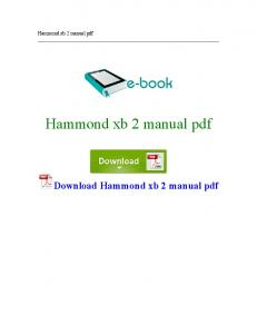 Download Hammond xb 2 manual pdf