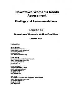 Downtown Women s Needs Assessment