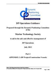 DP Operations Guidance. Marine Technology Society