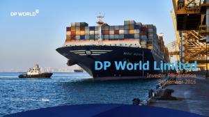 DP World Limited Investor Presentation September 2016