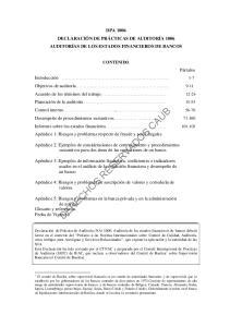 DPA 1006 DECLARACIÓN DE PRÁCTICAS DE AUDITORÍA 1006 AUDITORÍAS DE LOS ESTADOS FINANCIEROS DE BANCOS CONTENIDO