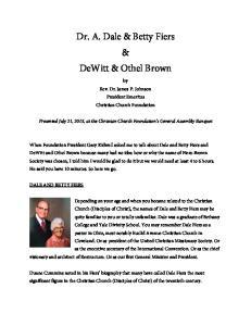 Dr. A. Dale & Betty Fiers & DeWitt & Othel Brown
