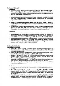 Dr. Archana Mahamuni Publications Conferences Dr. Shegorika Lalchandani International Publications: Conferences IIM Ahmedabad Presented a paper