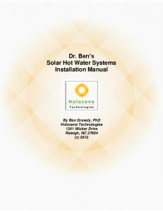 Dr. Ben s Solar Hot Water Systems Installation Manual