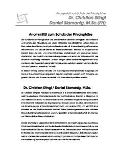 Dr. Christian Stingl Daniel Slamanig, M.Sc.(FH)