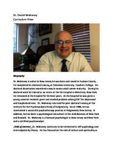 Dr. Daniel Mahoney Curriculum Vitae