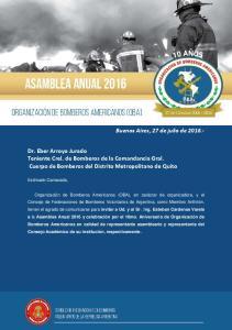 Dr. Eber Arroyo Jurado Teniente Crel. de Bomberos de la Comandancia Gral. Cuerpo de Bomberos del Distrito Metropolitano de Quito