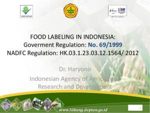 Dr. Haryono Indonesian Agency of Agricultural Research and Development