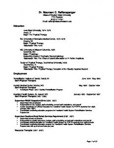 Dr. Maureen C. Raffensperger Missouri Western State University PTA Program (816)