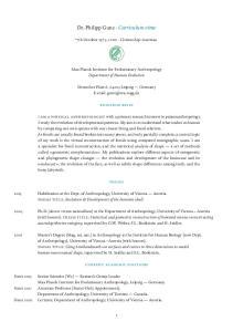 Dr. Philipp Gunz Curriculum vitae