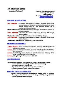 Dr. Shabnam Javed (Assistant Professor)
