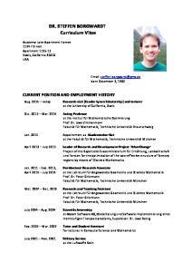 DR. STEFFEN BORGWARDT Curriculum Vitae