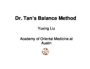 Dr. Tan s Balance Method