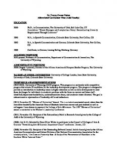 Dr. Tracey Owens Patton Abbreviated Curriculum Vitae (A&S Faculty)