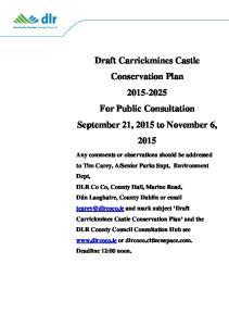 Draft Carrickmines Castle Conservation Plan For Public Consultation September 21, 2015 to November 6, 2015