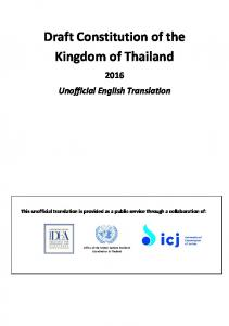 Draft Constitution of the Kingdom of Thailand